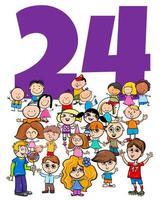 numero ventiquattro e gruppo di bambini dei cartoni animati vettore