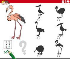 compito di ombre con personaggio animale fenicottero cartone animato vettore