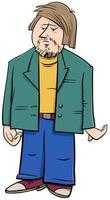 uomo divertente in giacca personaggio dei fumetti dei cartoni animati vettore