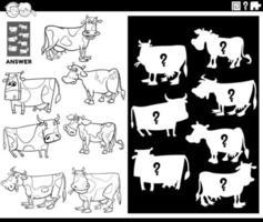 gioco di forme di corrispondenza con la pagina del libro di colore delle mucche vettore
