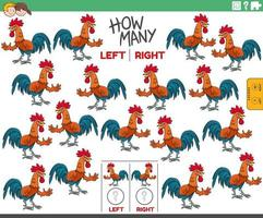 contando le immagini di sinistra e di destra dell'animale da fattoria del gallo dei cartoni animati vettore
