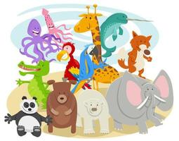 gruppo di personaggi di animali selvatici cartone animato felice vettore