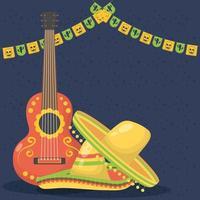 celebrazione di viva messico con chitarra e cappello vettore