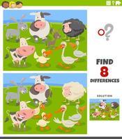 differenze gioco educativo con animali da fattoria dei cartoni animati vettore