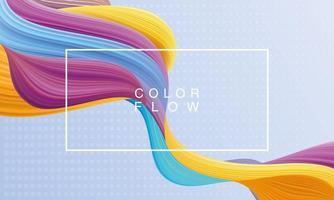 flusso di colori vivaci con poster modello di sfondo cornice rettangolare vettore