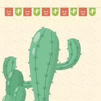 celebrazione del viva messico con ghirlande e cactus vettore