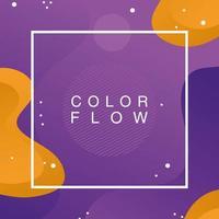 flusso di colore con poster di sfondo cornice quadrata vettore