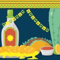 celebrazione del viva messico con taco e bottiglia di tequila vettore