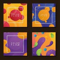fascio di quattro sfondi di flusso di colori vivaci vettore
