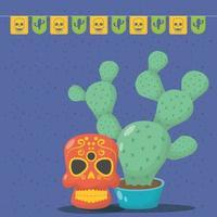celebrazione di viva messico con maschera teschio e cactus vettore