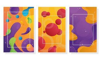 fascio di tre sfondi di flusso di colori vivaci vettore