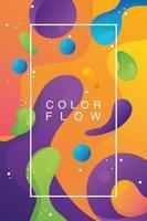 flusso vivido di colori con poster modello di sfondo cornice rettangolare vettore