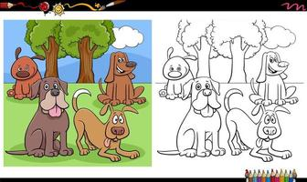 fumetto di cani e cuccioli gruppo pagina del libro da colorare vettore
