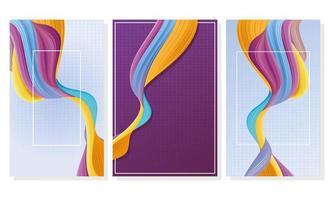 fascio di tre sfondi di flusso di colore vettore