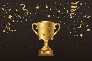 banner celebrazione vincitore d'oro con trofeo vettore