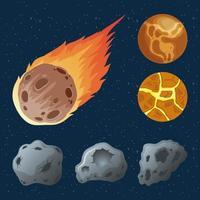 asteroidi con pianeti e meteorite in fiamme icone vettore