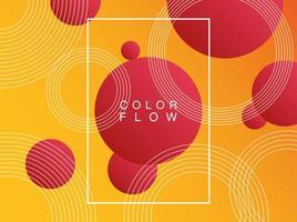 flusso di colori vivaci con poster di sfondo cornice rettangolare vettore