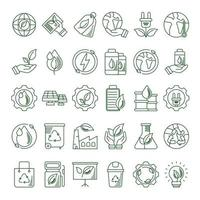 set di icone linea eco e terra