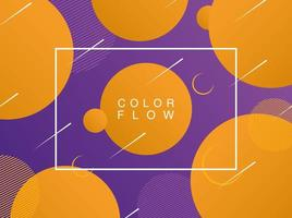flusso di colori vivaci con modello di poster di sfondo cornice rettangolare vettore