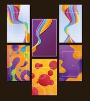 fascio di sei sfondi di flusso di colori vivaci vettore