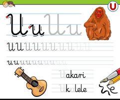 scrivendo il foglio di lavoro della lettera u per i bambini vettore