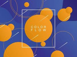 flusso di colori vivaci con poster modello sfondo cornice quadrata vettore