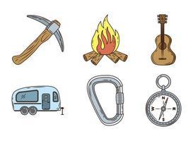 pacchetto di sei linee di campeggio e icone di riempimento vettore