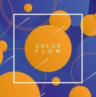 flusso di colori vivaci con modello di poster di sfondo cornice quadrata vettore