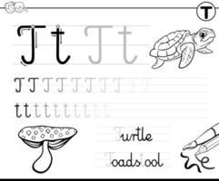 impara a scrivere la lettera t cartella di lavoro per i bambini vettore