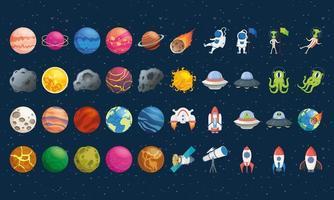 fascio di quaranta icone spaziali vettore
