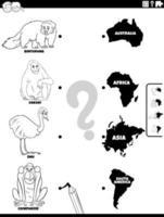 abbinare animali e continenti pagina del libro a colori vettore