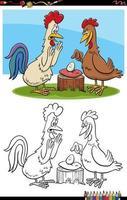Gallo e gallina con la pagina del libro da colorare dei cartoni animati di uovo vettore