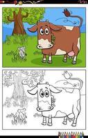 cartone animato divertente mucca sul pascolo pagina del libro da colorare vettore