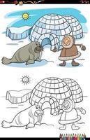 cartone animato eschimese con igloo e tricheco da colorare pagina del libro vettore