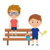 ragazzi con secchio e strumenti per giocare nella sedia del parco su sfondo bianco vettore
