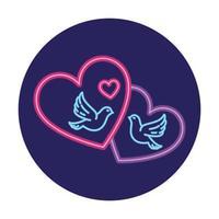 colombe con il cuore nella luce al neon, il giorno di San Valentino vettore