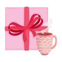 tazza di caffè con icona isolata confezione regalo