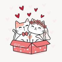 matrimonio di una coppia di gatti vettore