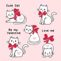 set di simpatici gatti bianchi San Valentino con nastri rossi vettore