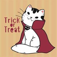 simpatico costume da vampiro gatto scarabocchio per la celebrazione di Halloween vettore