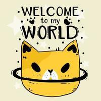 testa di gatto carino doodle con scritte vettore