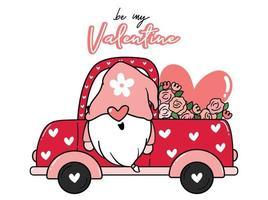 gnomo di San Valentino nel camion dei fiori vettore