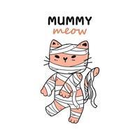 simpatico gatto in costume da mummia per la celebrazione di Halloween vettore