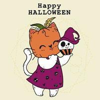 simpatico gatto in costume da zucca per la celebrazione di Halloween