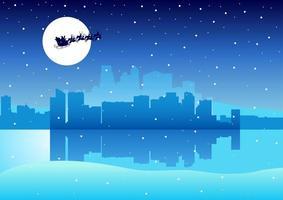 paesaggio urbano con Babbo Natale vettore