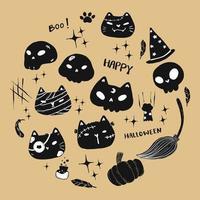 set di simpatici gatti divertenti di halloween