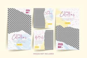 modello di social media di moda impostato con acquerello astratto e sfondo di carta strappata
