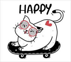 simpatico gatto bianco felice su uno skateboard vettore