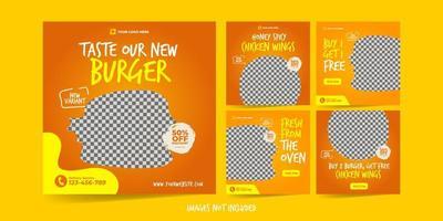 hamburger per set di modelli di pubblicità sui social media vettore