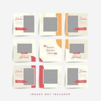 social media puzzle frame grid post template per la promozione della vendita di moda vettore premium
